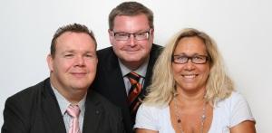 David Lega (KD), Jonas Ransgård (M) och Helene Odenjung (FP).